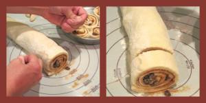 Cutting cinnamon roll shapes
