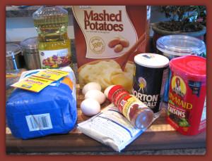 Ingredients for potato rolls