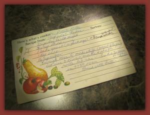 Grandma's recipe in her handwriting