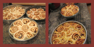 Cinnamon rolls rising and cooling