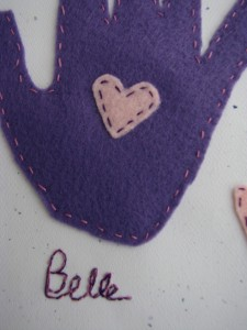 Closeup of signature and stitching