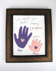 Gift for Daddy with the girls' writing and hand prints!